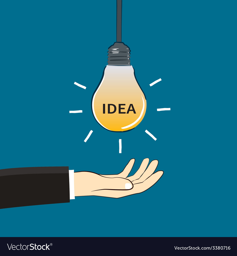 Hand and idea light bulb vector | Price: 1 Credit (USD $1)