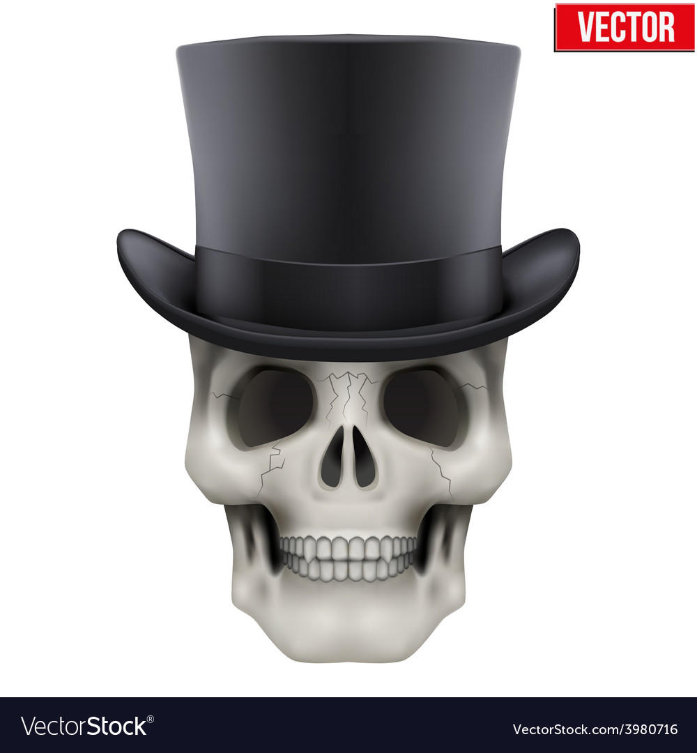 Human skull with black cylinder hat vector | Price: 3 Credit (USD $3)