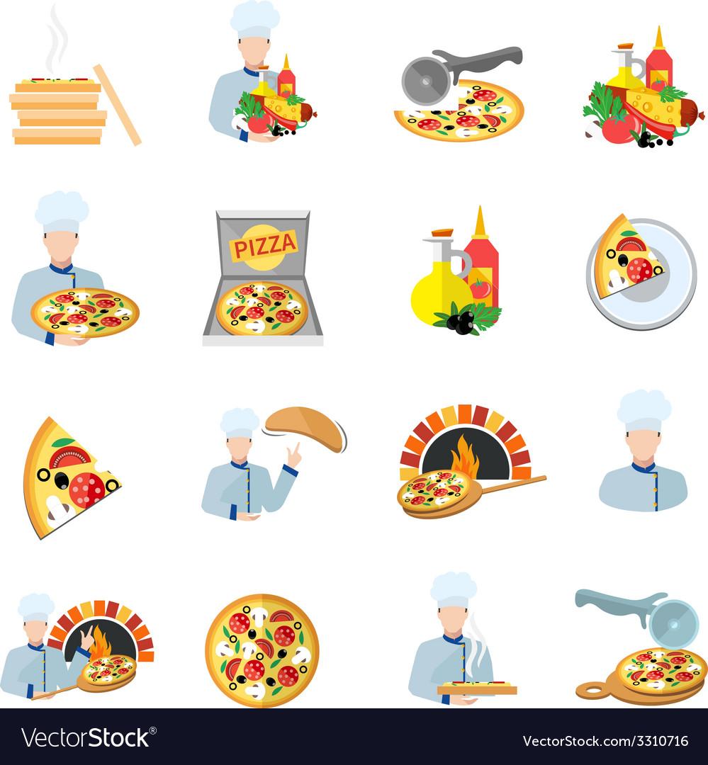 Pizza maker icon set vector | Price: 1 Credit (USD $1)