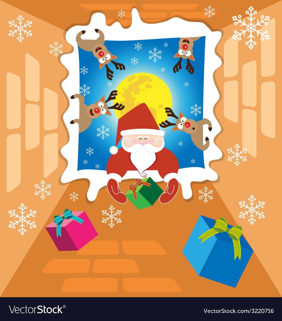 Santa claus and reindeer send gifts on christmas vector | Price: 1 Credit (USD $1)
