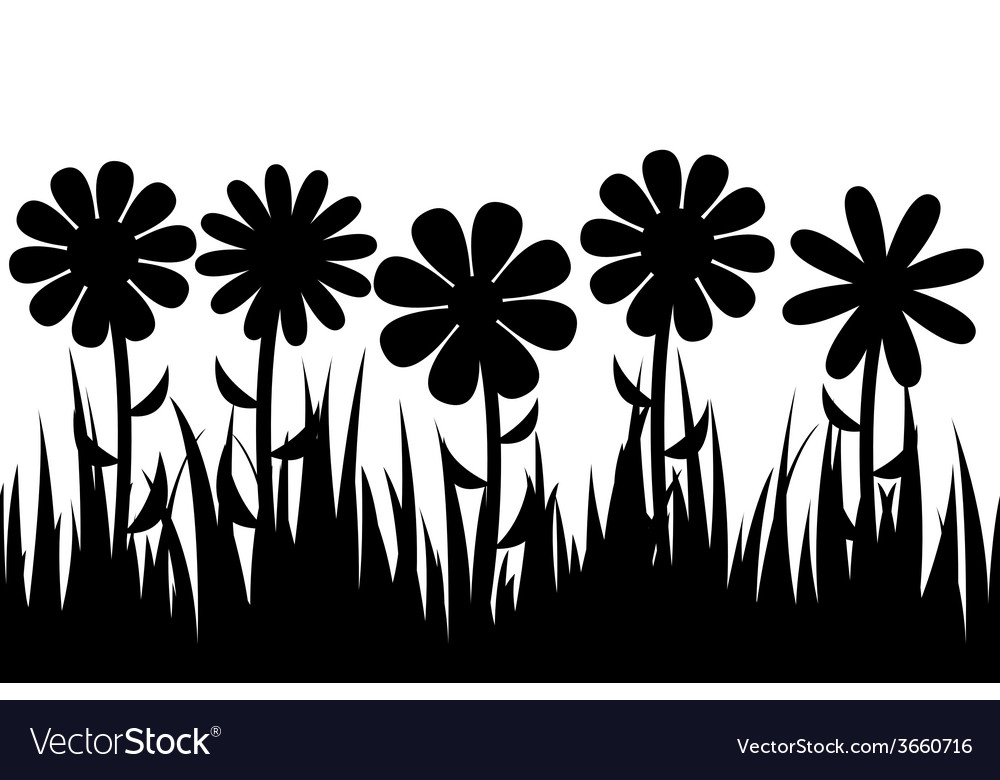 Seamless silhouette grass and flowers vector | Price: 1 Credit (USD $1)