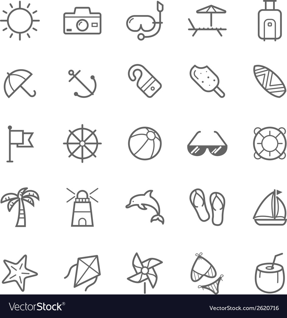 Set of outline stroke beach icons vector