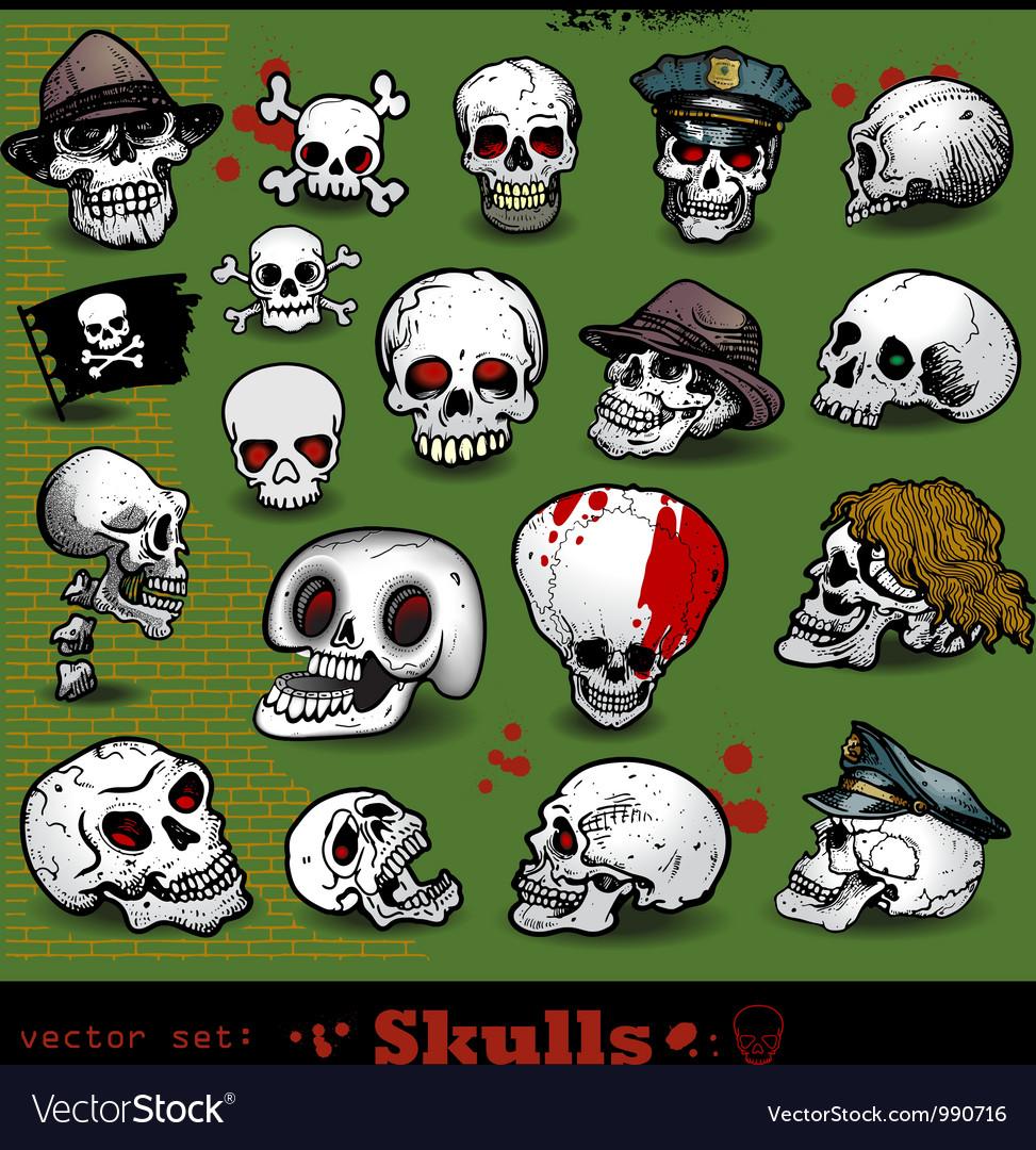 Set of skulls vector | Price: 3 Credit (USD $3)