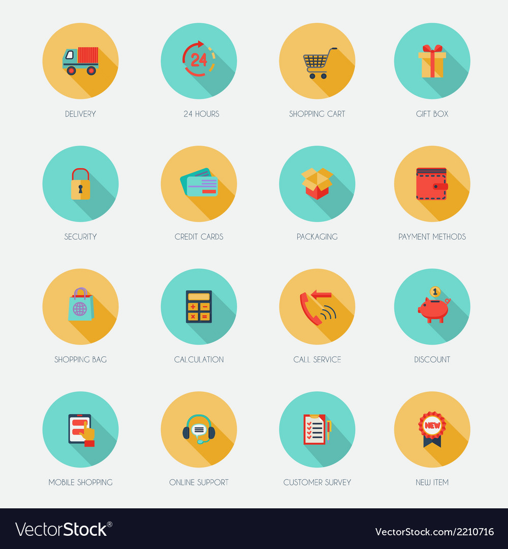 Shopping e-commerce icons flat vector | Price: 1 Credit (USD $1)