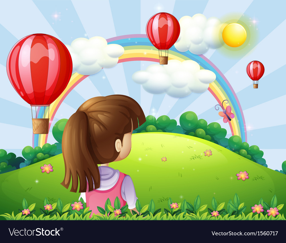 A young lady watching the floating balloons and vector | Price: 3 Credit (USD $3)