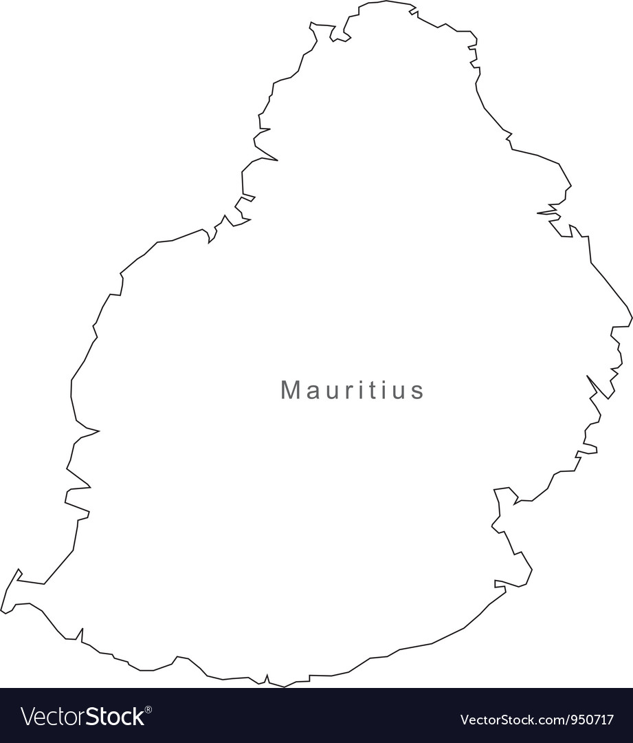 Black white mauritius outline map vector | Price: 1 Credit (USD $1)