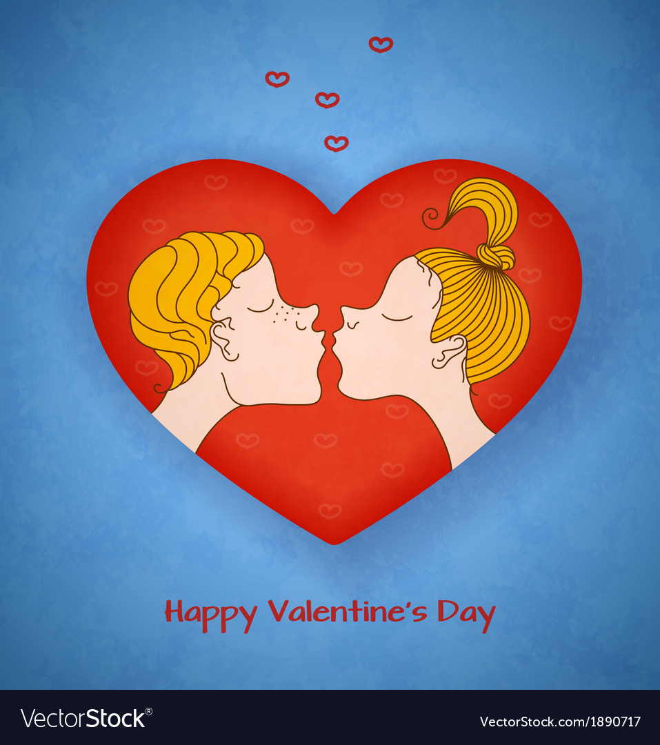 Boy and girl kiss valentines day vector | Price: 1 Credit (USD $1)