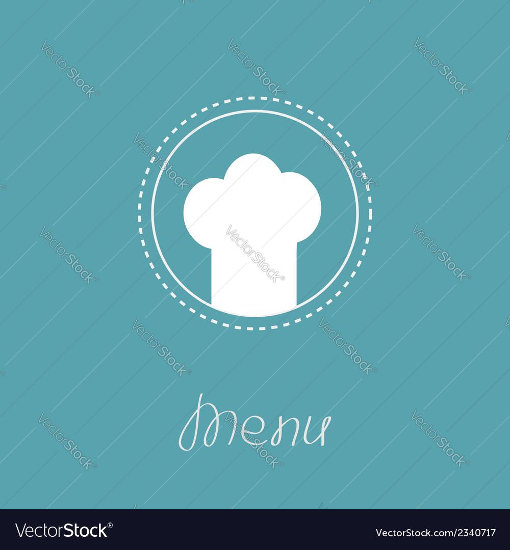 Chef hat inside round dash line frame menu card vector | Price: 1 Credit (USD $1)