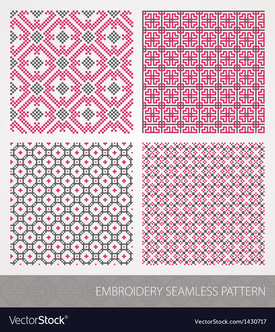 Collection of embroidery ornament vector | Price: 1 Credit (USD $1)