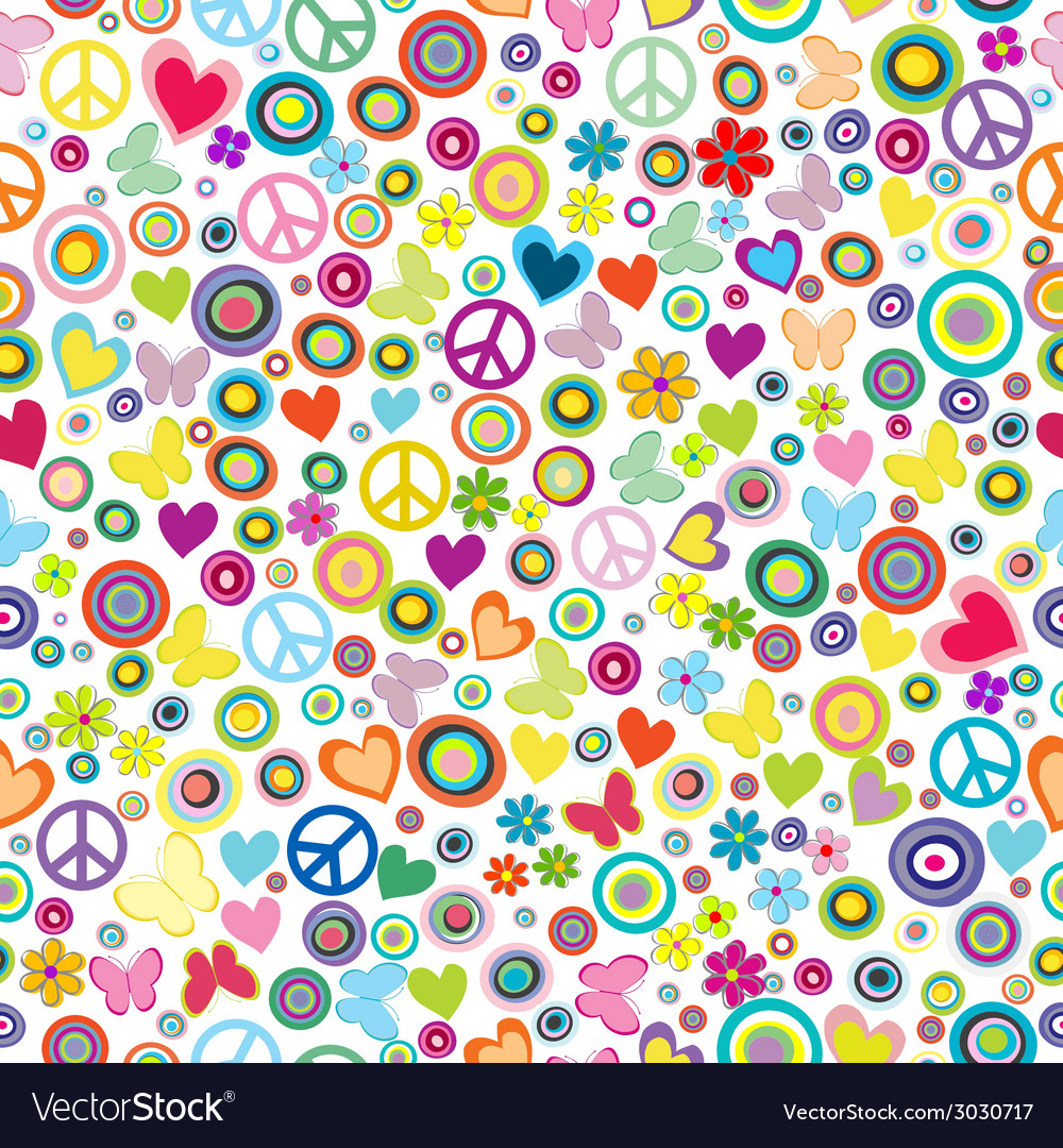 Flower power background seamless pattern with vector | Price: 1 Credit (USD $1)
