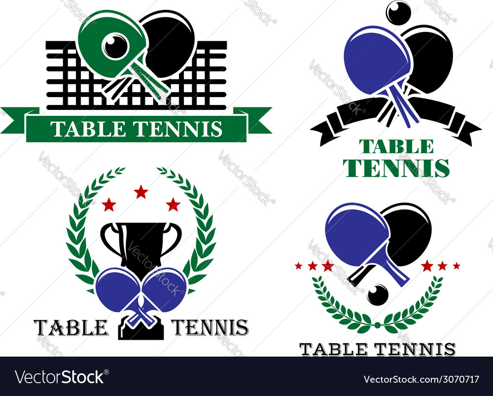 Four table tennis emblems or badges vector | Price: 1 Credit (USD $1)