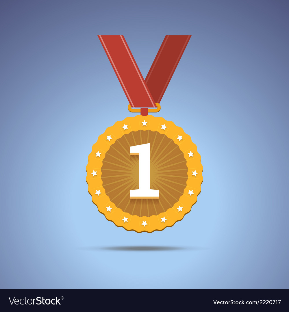 Gold award medal with red ribbon vector | Price: 1 Credit (USD $1)