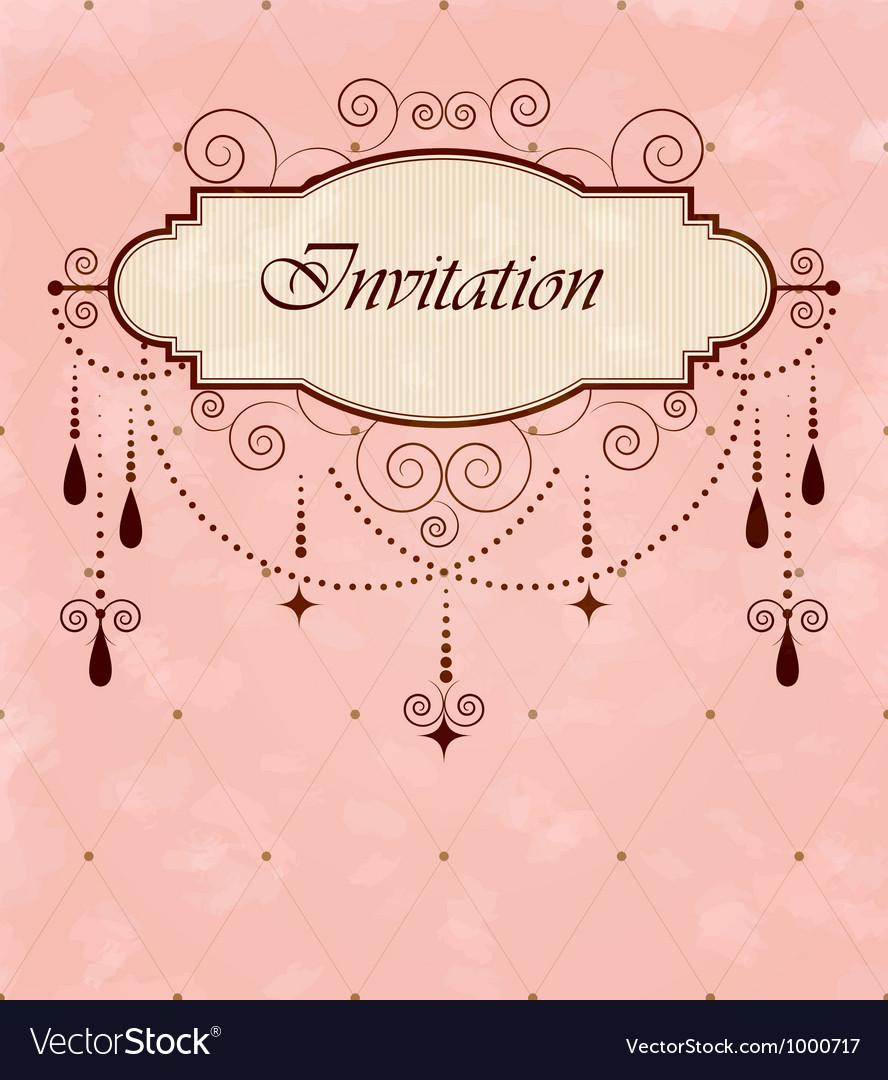 Invitation vintage card vector | Price: 1 Credit (USD $1)