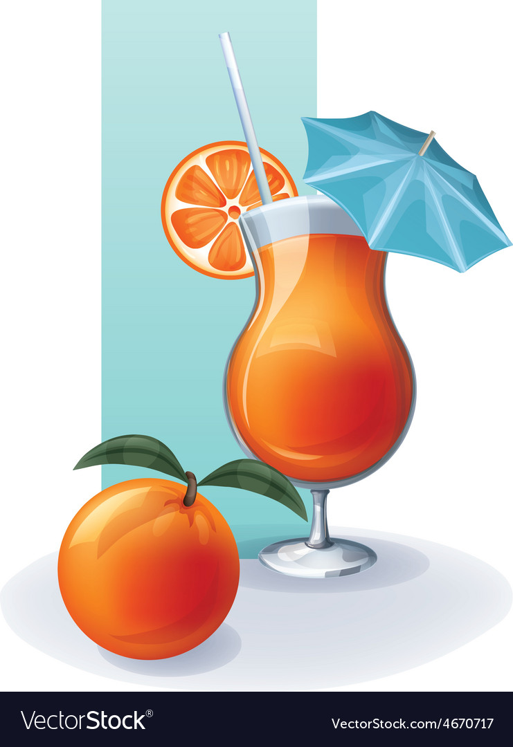 Orange in goblet of juice cocktail smoothie vector | Price: 1 Credit (USD $1)