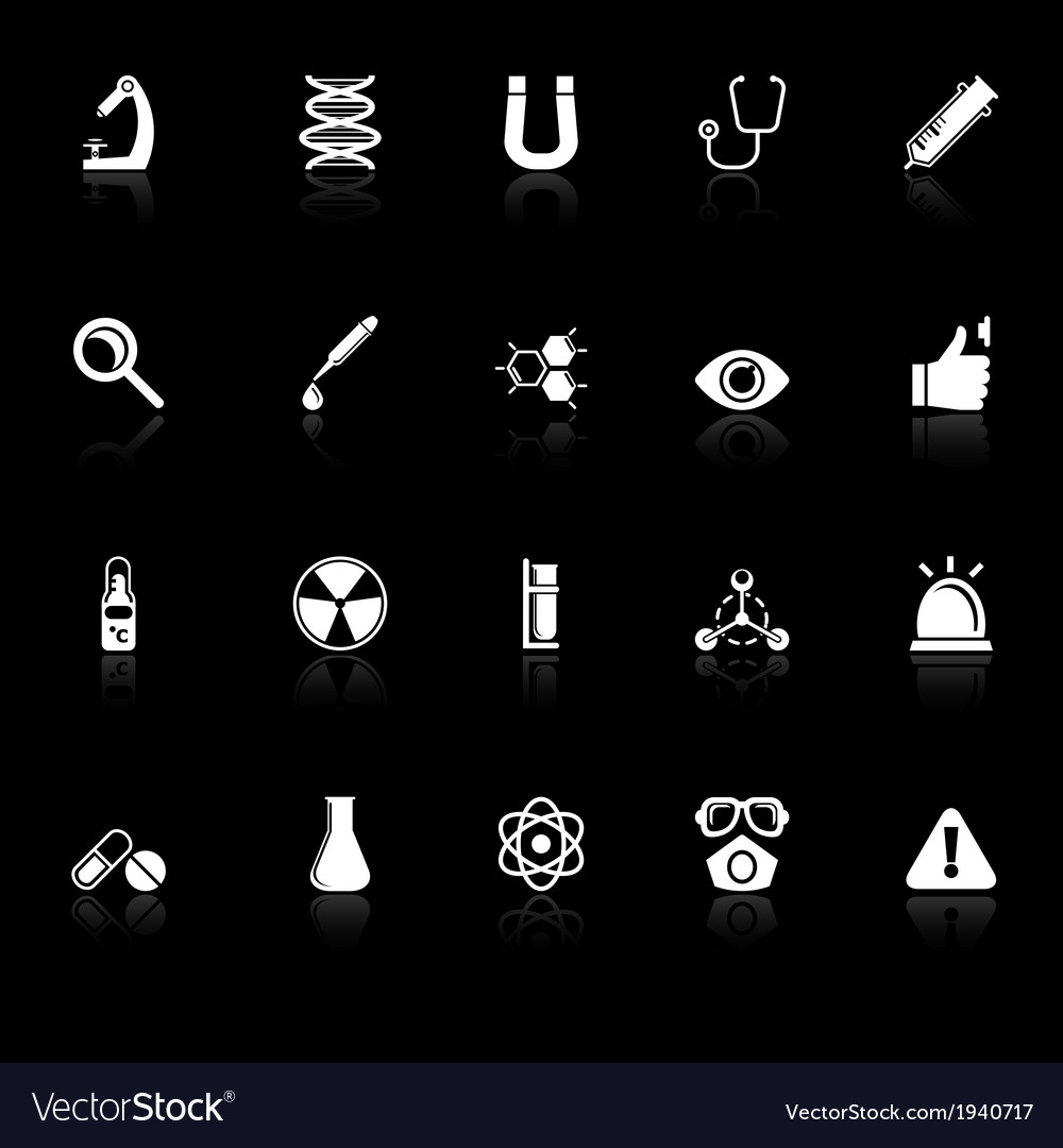 Science icons with reflect on black background vector | Price: 1 Credit (USD $1)