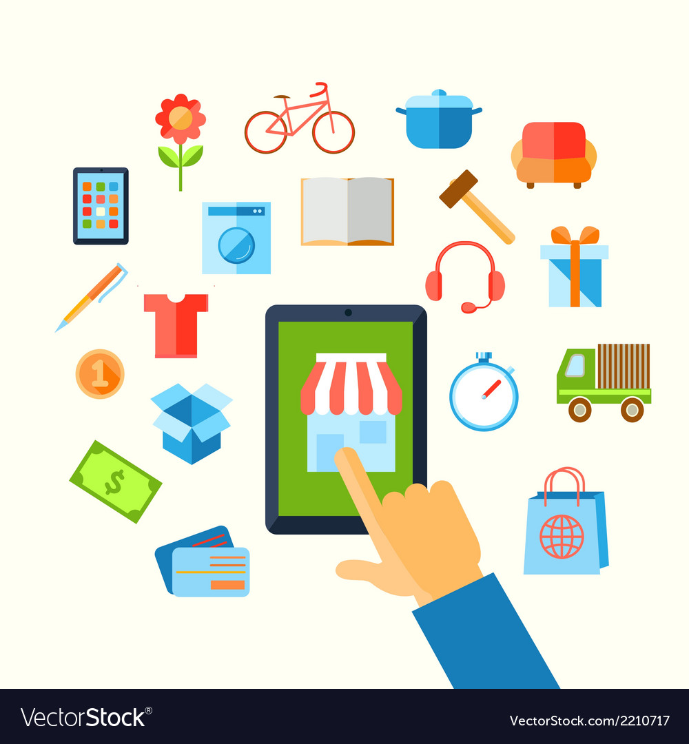 Shopping e-commerce hand concept vector | Price: 1 Credit (USD $1)