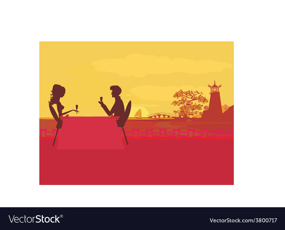 Silhouette couple flirt and drink champagne on vector | Price: 1 Credit (USD $1)