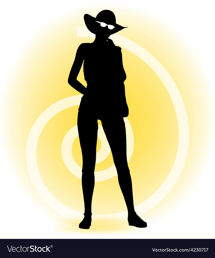 Tourist woman silhouette with handbag and vector | Price: 1 Credit (USD $1)