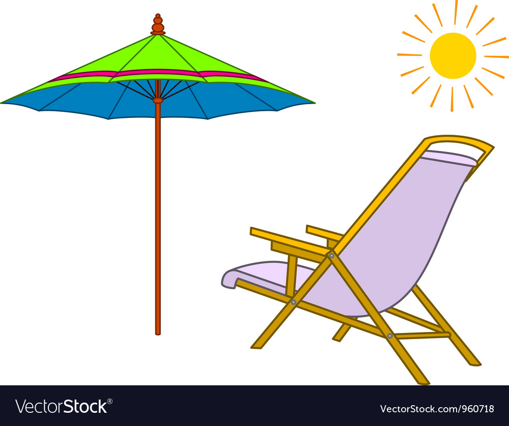 Beach chaise lounge umbrella and sun vector | Price: 1 Credit (USD $1)