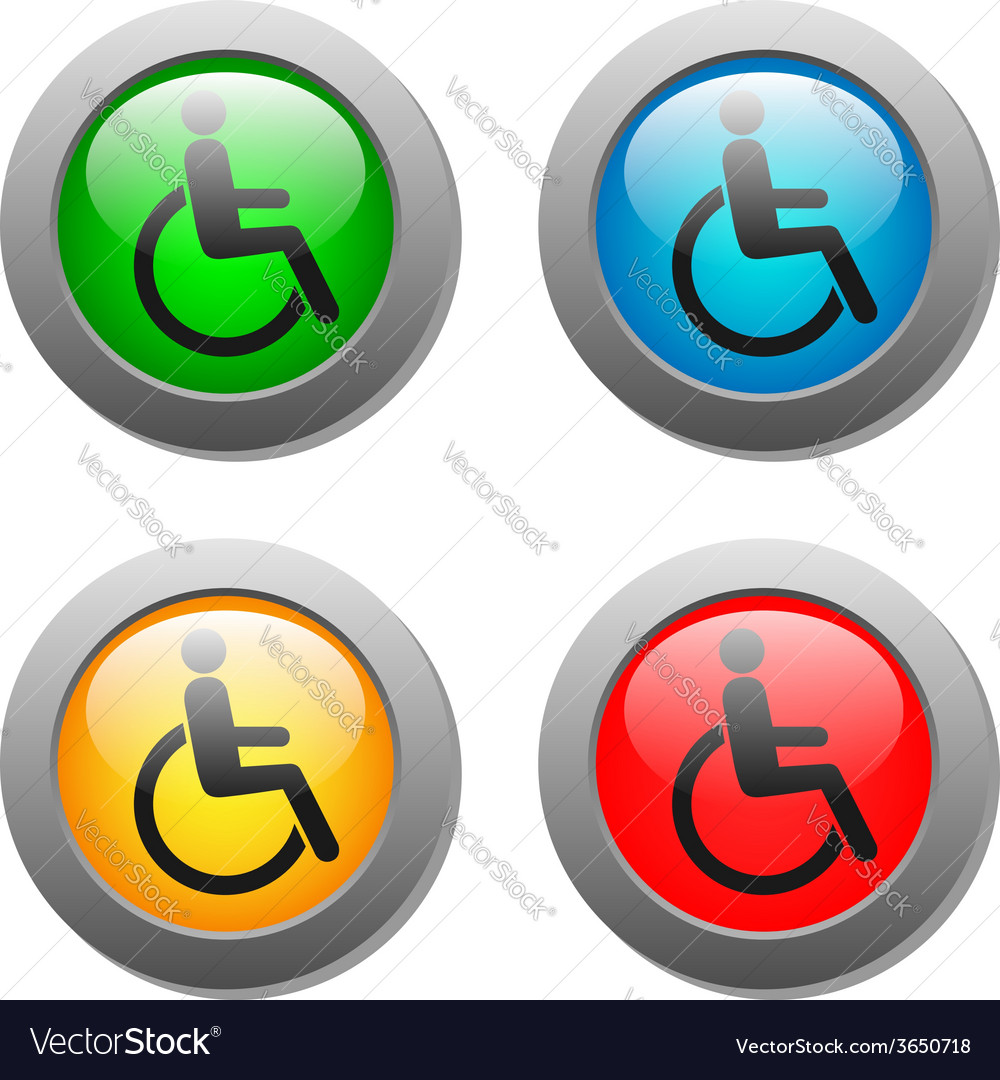 Disabled icon set on glass buttons vector | Price: 1 Credit (USD $1)