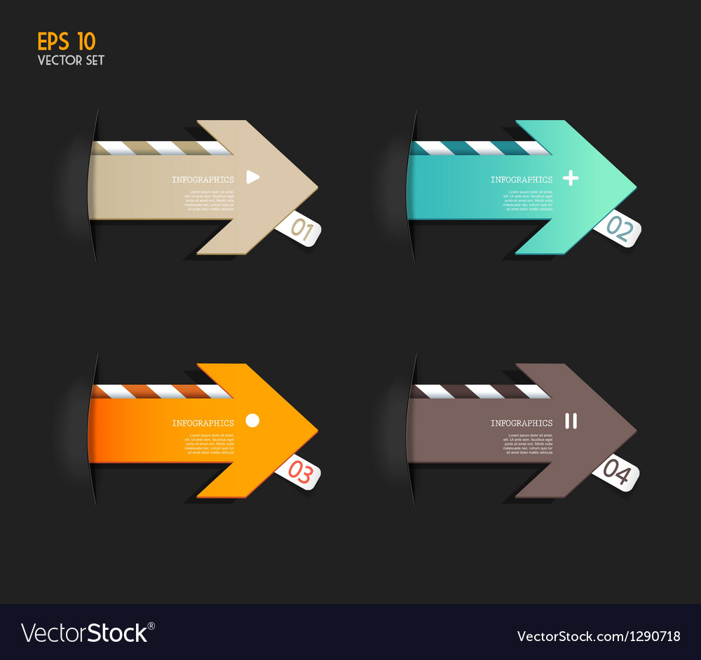Four colored paper arrows vector | Price: 1 Credit (USD $1)