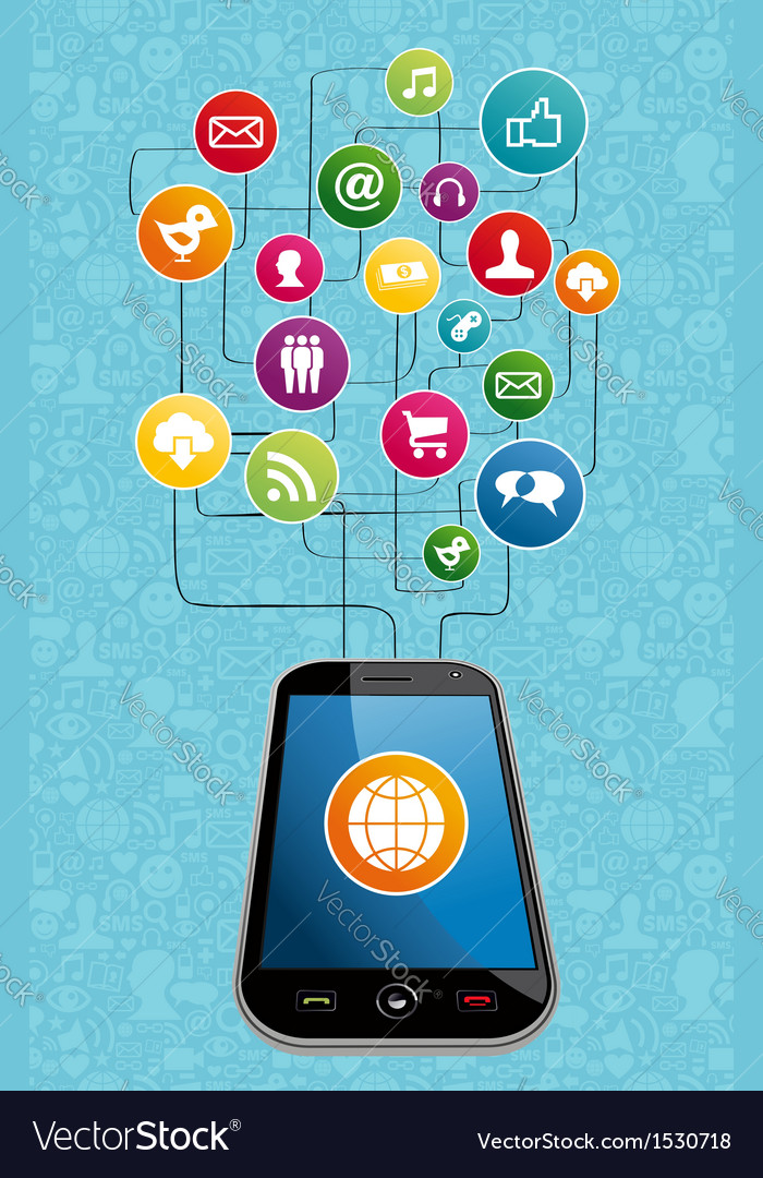 Global social media mobility vector | Price: 1 Credit (USD $1)