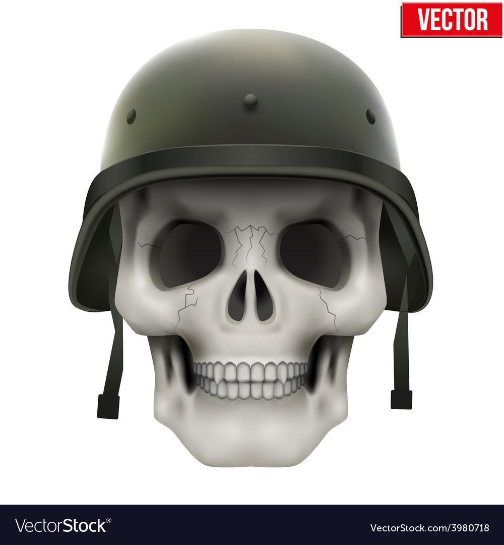 Human skull with military helmet vector | Price: 3 Credit (USD $3)