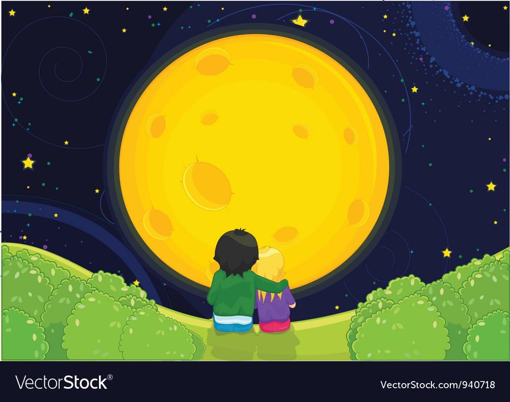 Kids sitting under moonlight vector   Price: 3 Credit (USD $3)