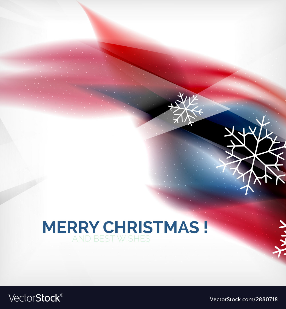 Red christmas blurred waves and snowflakes vector | Price: 1 Credit (USD $1)