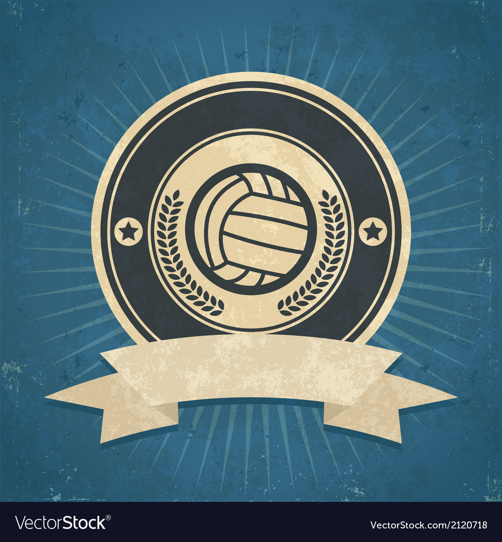 Retro volleyball emblem vector | Price: 1 Credit (USD $1)