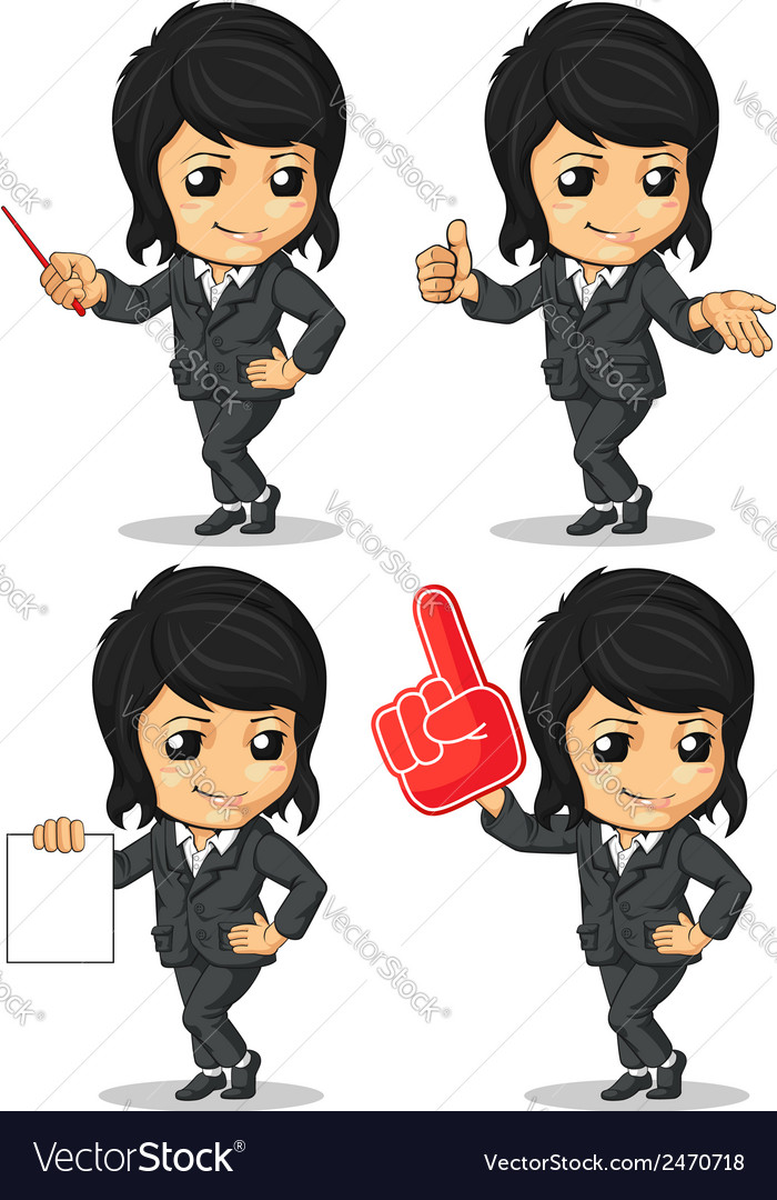 Smiling businesswoman mascot in many poses vector | Price: 1 Credit (USD $1)