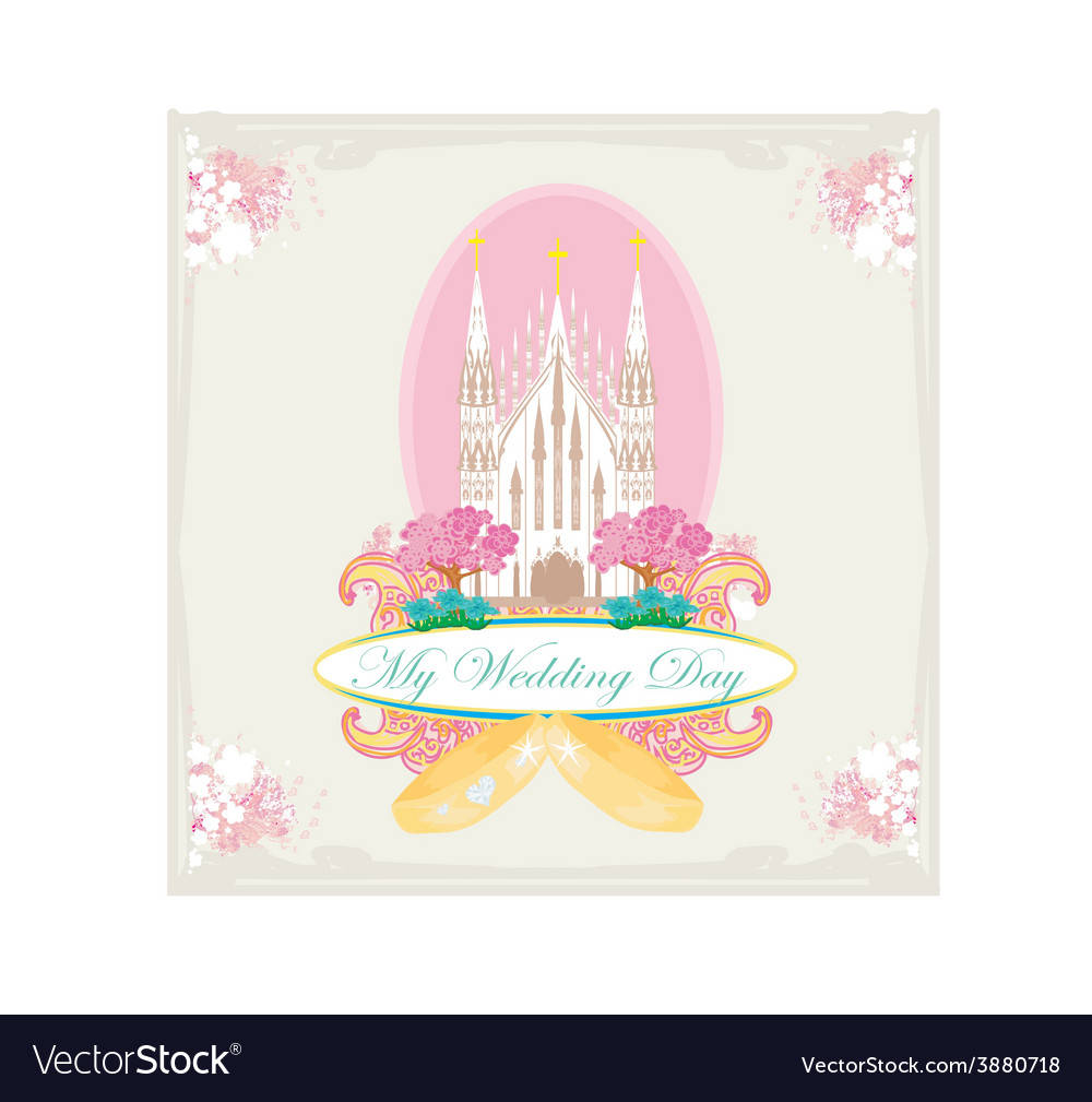 Vintage wedding card with rings and elegant vector | Price: 1 Credit (USD $1)