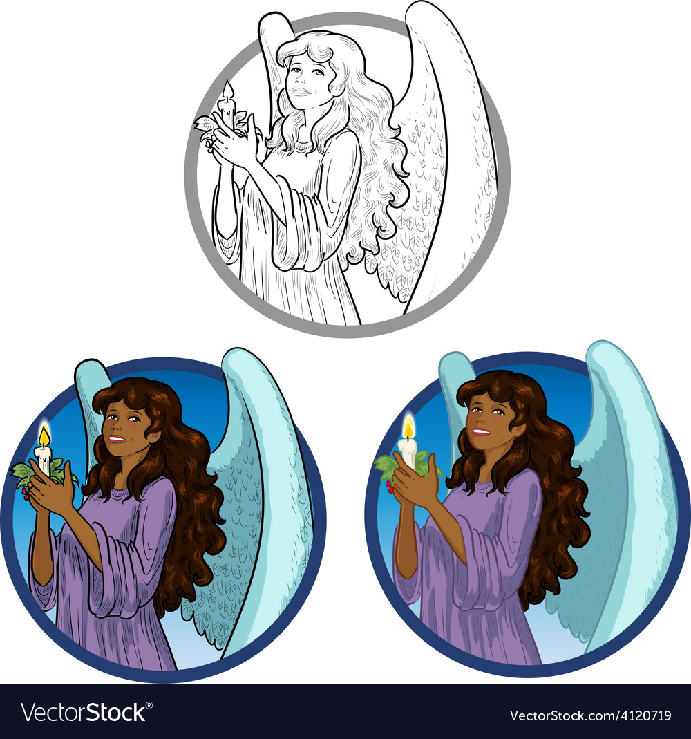 Beautiful african american female angel with vector | Price: 3 Credit (USD $3)