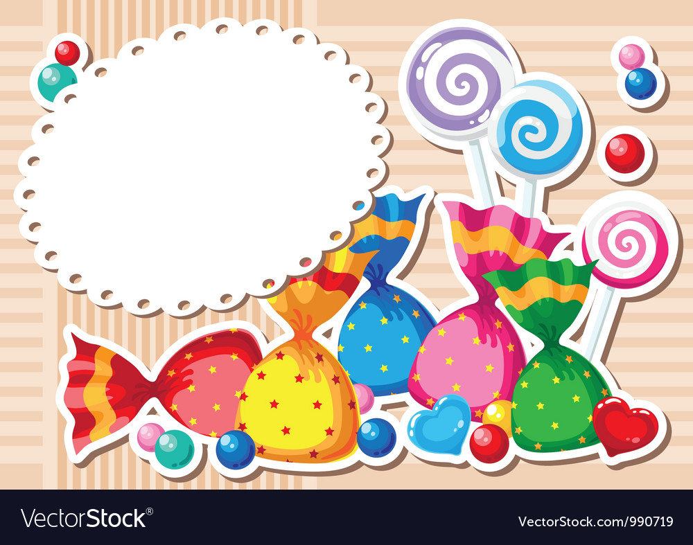 Candy sticker background vector | Price: 1 Credit (USD $1)