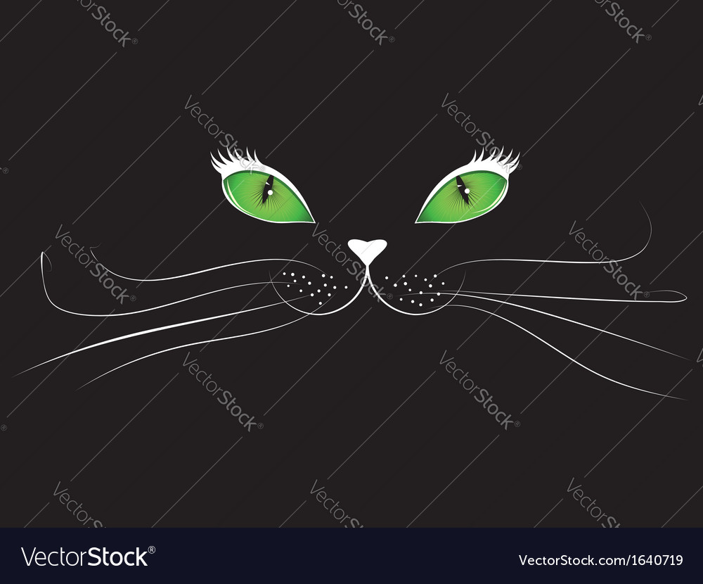 Cartoon cat face in black vector | Price: 1 Credit (USD $1)