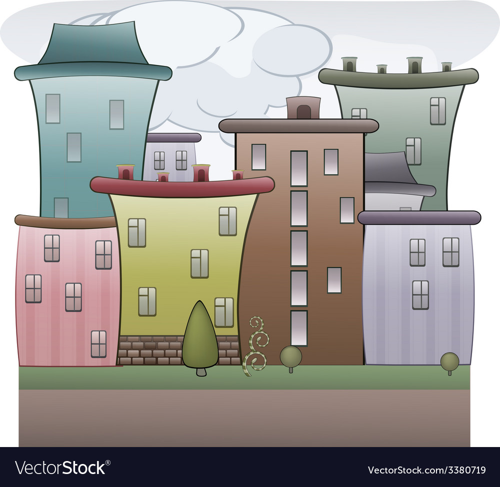 Colorful town vector | Price: 1 Credit (USD $1)