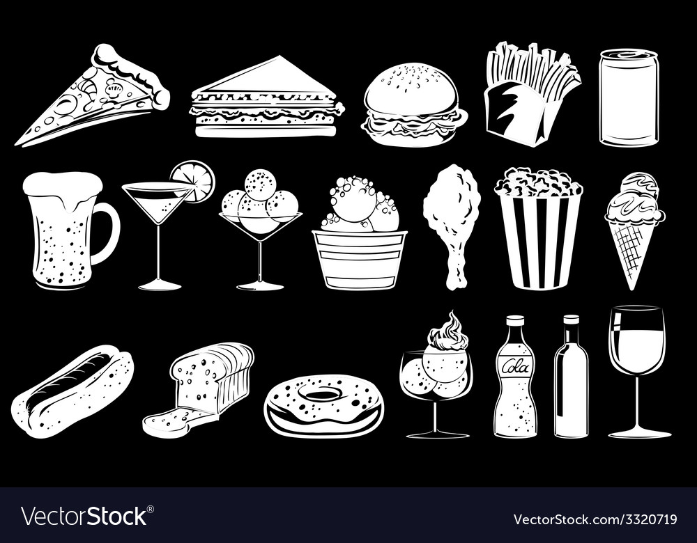 Doodle design of foods vector | Price: 1 Credit (USD $1)