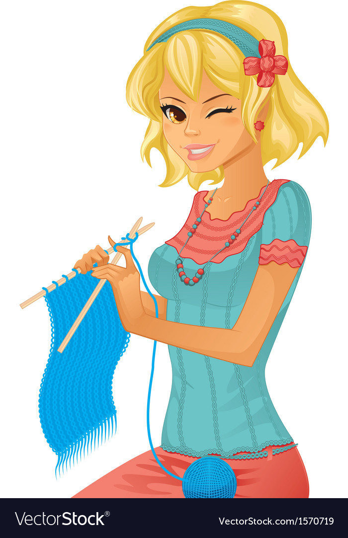 Girl knitting vector | Price: 1 Credit (USD $1)