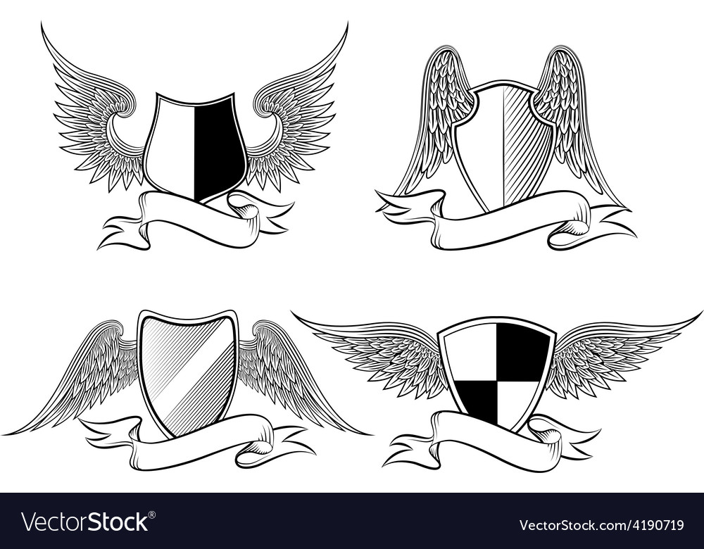 Heraldic shields with wings vector | Price: 1 Credit (USD $1)