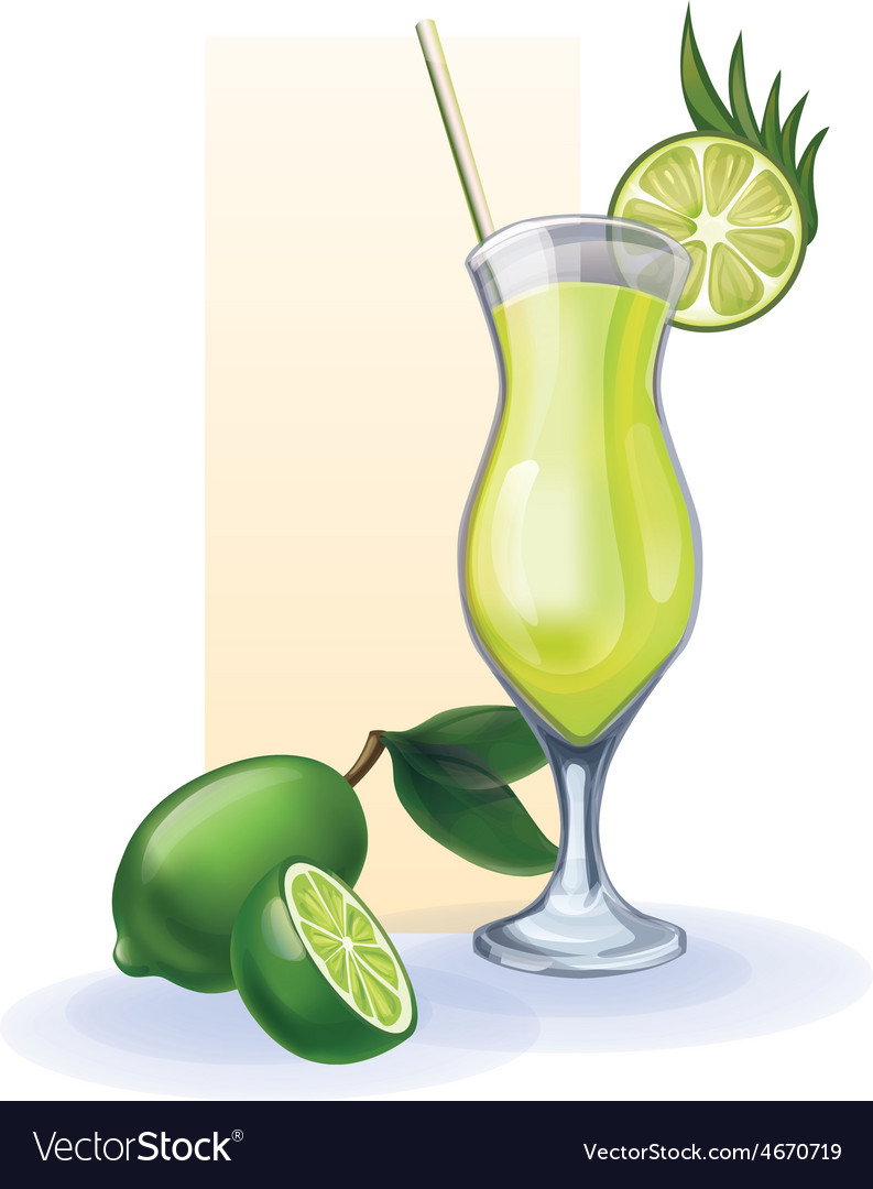 Lime in goblet of juice cocktail smoothie vector | Price: 1 Credit (USD $1)
