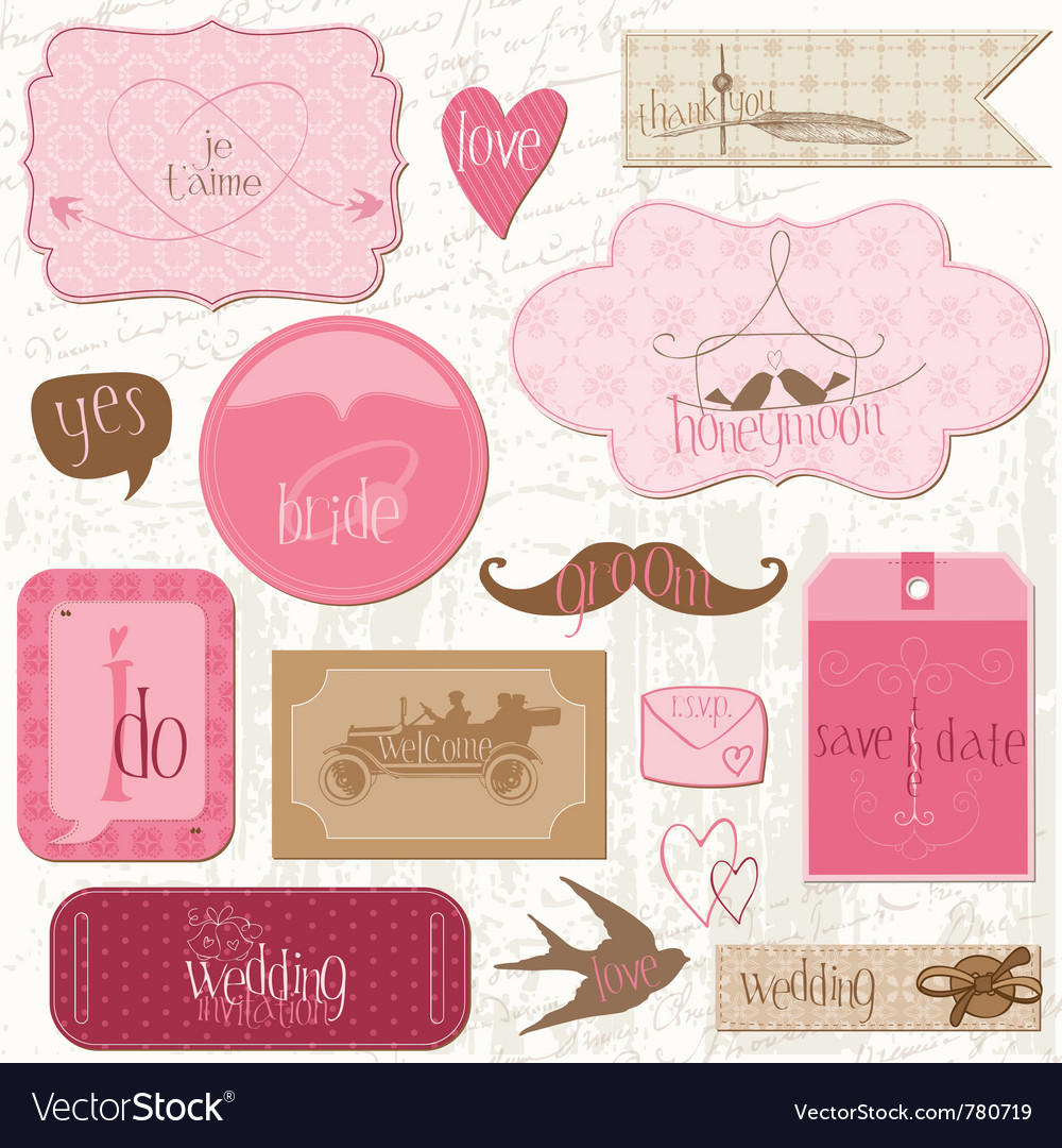 Romantic wedding tags vector | Price: 1 Credit (USD $1)