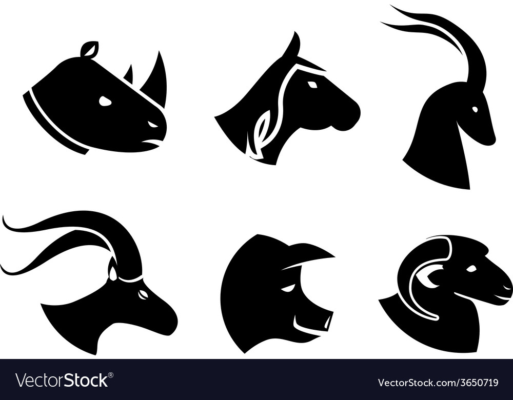 Set of black animal head icons vector | Price: 1 Credit (USD $1)