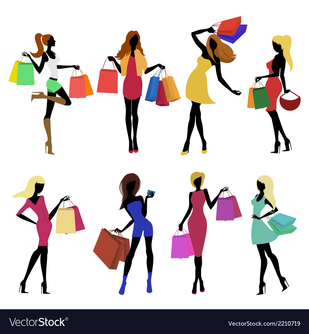 Shopping girl silhouettes vector | Price: 1 Credit (USD $1)
