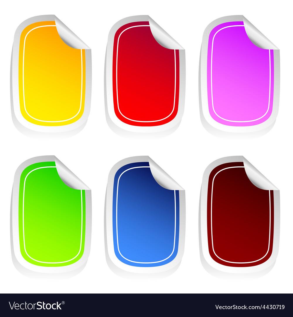 Sticker in six color set three vector   Price: 1 Credit (USD $1)