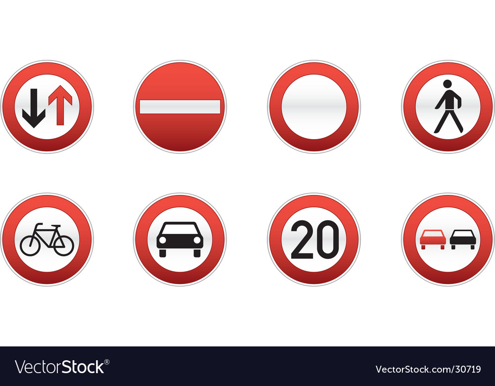 Traffic signs icon set vector | Price: 1 Credit (USD $1)