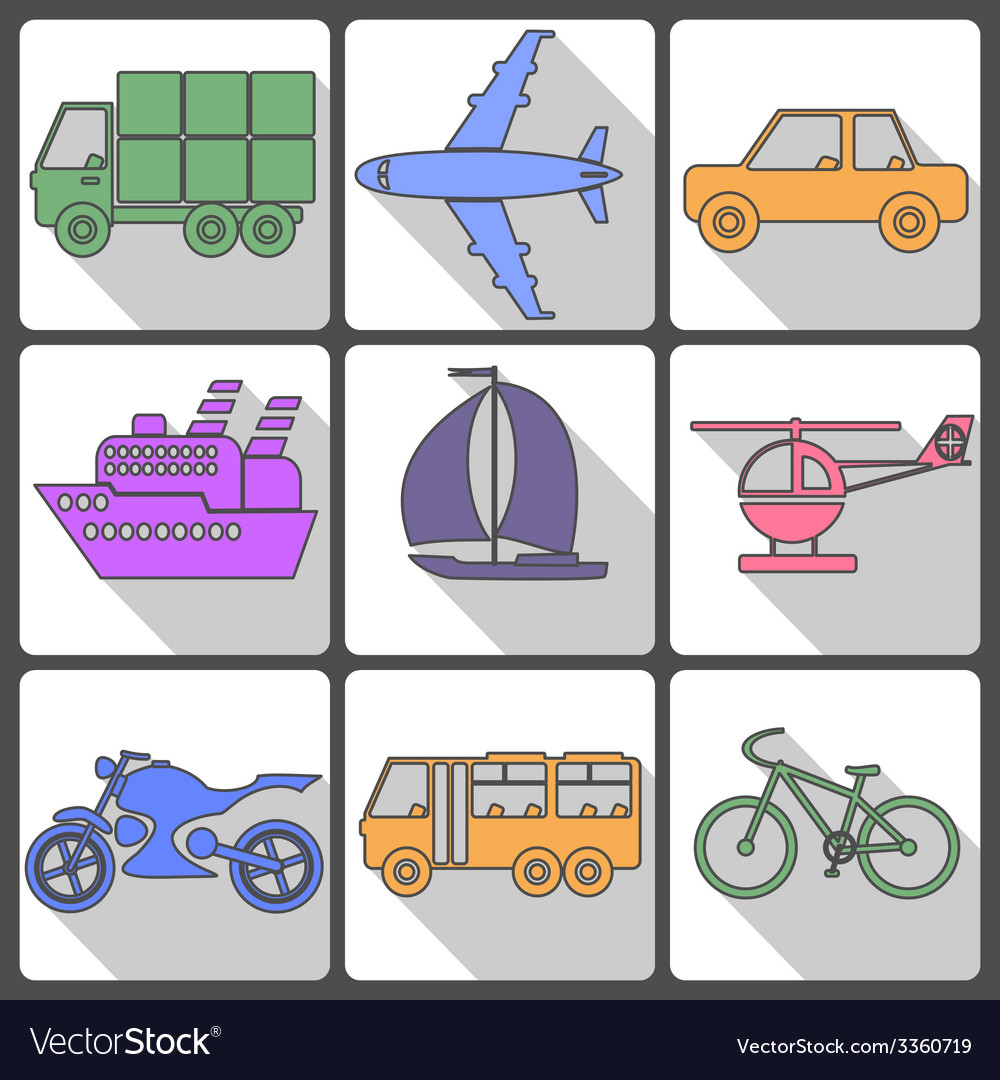 Transport icons collection vector | Price: 1 Credit (USD $1)