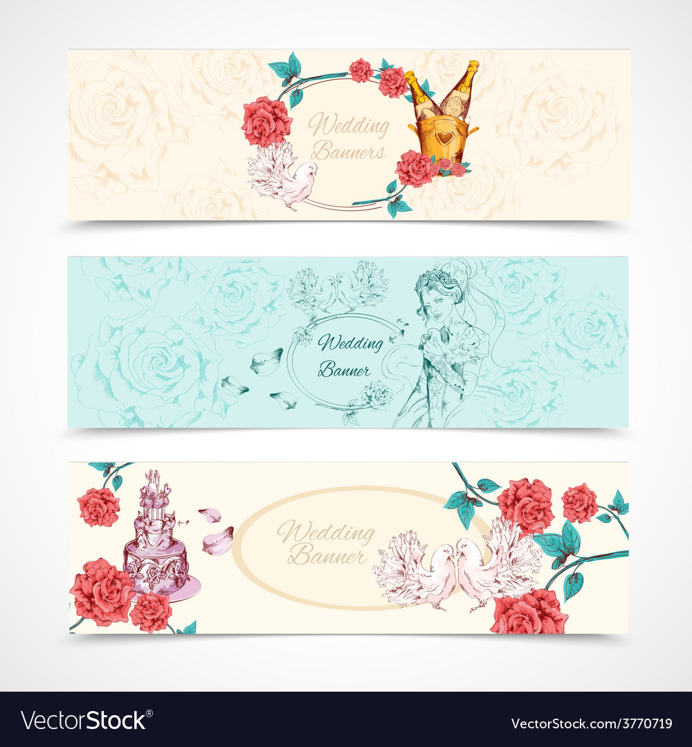 Wedding banners set vector | Price: 1 Credit (USD $1)