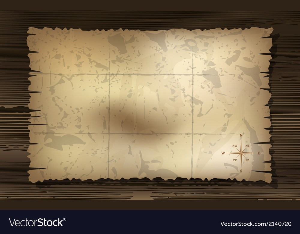 Aged treasure map with compass background vector | Price: 1 Credit (USD $1)