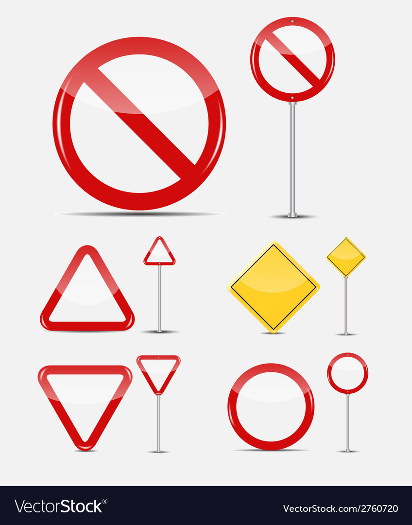 Blank traffic sign set vector | Price: 1 Credit (USD $1)