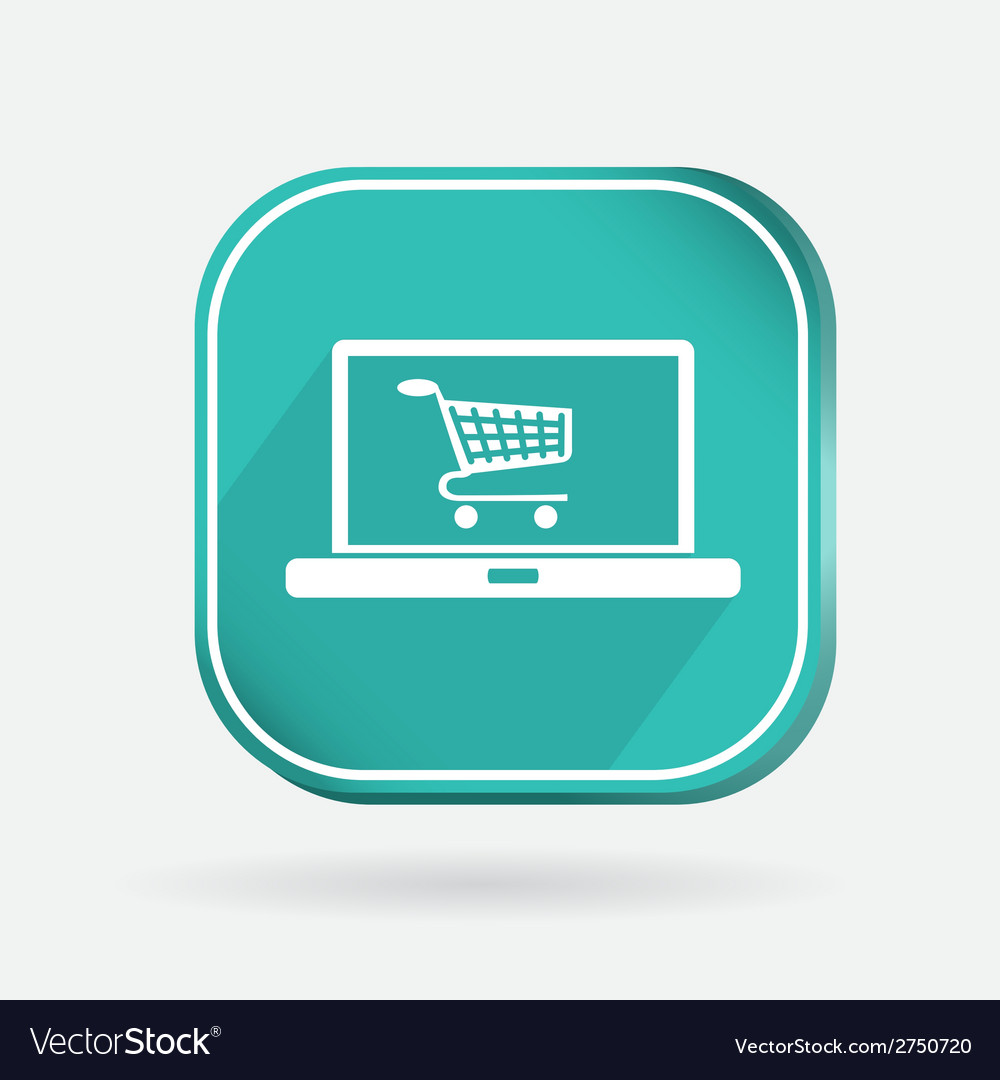 Color icon laptop with shopping cart vector | Price: 1 Credit (USD $1)